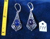 Silver filigree earrings with amethyst. Cat# 0111