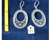 Silver open filigree earrings. Cat# 0113