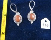 Silver earrings with red goldstone. Cat# 0114