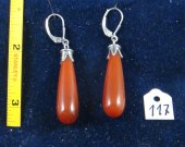 Silver earrings with carnelian. Cat# 0117