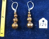 Silver earrings with hematite-titanic. Cat# 0124