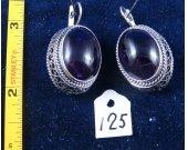 Silver filigree earrings with amethyst. Cat# 0125