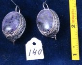 Silver filigree earrings with charoite. Cat# 0140