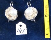 Silver earrings with fresh water pearls. Cat# 0141