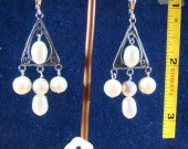 Silver earrings with fresh water pearls. Cat# 0143