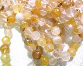 5strands 6mm  genuine yellow citrine  quartz round ball  faceted gemstone bead