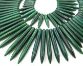 wholesale   turquoise gemstone sharp spikes bar  dark green mixed jewelry  necklace 20-50mm--2strands