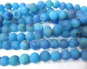 wholesale bulk  agate gemstone  round ball crystal rock matt crab teal blue  mixed jewelry spacer 12mm --5strands 16inch