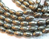 8x12 10x14 12x16 13x18mm full strand genuine pyrite  beads  ,rice barrel  iron golden gemstone jewelry beads --2strands 48pcs
