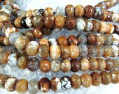 wholeasale gergous natural agate gemstone  rondelle abacus facetd  brown grey welry beads 10x14mm --2strands 16inch