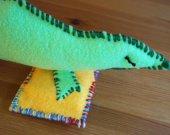 Green Lizard Soft Sculpture - Hand Sewn - Felt Fabric Art - Weird Home Decor - Conversation Piece - OOAK