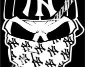 "Decal Skull Yankees Cars Trucks Windows Bumper Stickers 8"""