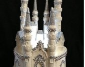 .weddind  quinceanera sweet 16  cinderella   light cake topper in white and silver