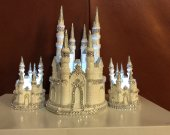 3 pc. weddind  cinderella castle  Unity candles  light cake topper in white