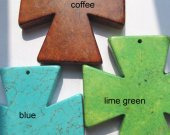 80x66mm 3pcs, high quality  turquoise gemstone crossesgreen blue cofee mixed color jewelry  focal