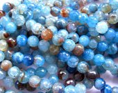 5strands 4-16mm wholesale  fire agate gemstone  round ball faceted royal  blue cherry mixed jewelry beads