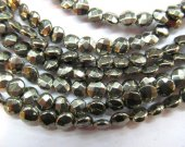 2strands 8-12mm genuine pyrite  beads 6mm ,high quality roundel coin  flat  faceted  iron golden gemstone jewelry beads