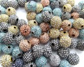 12mm 100pcs metal & crystal high quality bling tone spacer  round ball  assortment jewelry beads