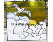 Stained Glass Panel - Dove in Sunrise