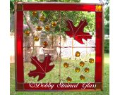 Stained Glass & Wire Panel - Fall Leaves