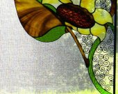 Stained Glass & Wire Window Corners - Sunflowers
