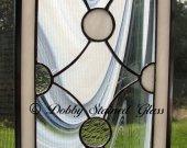 Stained Glass Panel - White Circles & Swirls