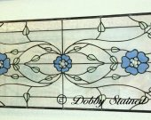 Stained Glass Panel - Clear with Blue Flowers