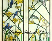 Stained Glass Panels / Sidelites - Day Lilies