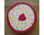 Doughnut Magnet / Hand Painted Pink Frosted Doughnut on a Red Background / Fun Food Fridge Magnet / Novelty