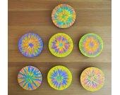 SET OF 7 Magnets / OOAK Handmade Fridge Magnets / Hand Painted Refrigerator Magnets / Large Wooden Disc Magnets / Magnet