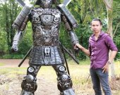2.20 Meter tall Metal art sculpture Samurai - unique metal art decor