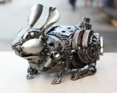Metal sculpture - Crawl Rabbit - unique metal art decor - home decor