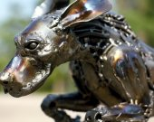 Metal sculpture  - The Rocket Dog - unique metal art decor - home decor