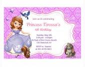 Printable - Sofia the first custom birthday invitations