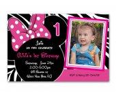 Minnie Mouse Birthday Zebra Print Invitations
