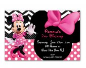 Pink Polka Dot Minnie Mouse Birthday Invitations cards - printable