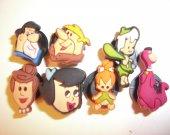 7 The Flintstones Cartoon Button Shoe Charms for Jibbitz bracelets or Crocs shoes