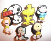 6 Peanuts Cartoon Button Shoe Charms for Jibbitz bracelets or Crocs shoes
