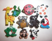 10 Animals Jiraffe, Cow, Frog, Button Shoe Charms for Jibbitz bracelets or Crocs shoes