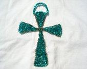 Emerald Wall Hanging Glass Beaded Suncatcher Copper Cross