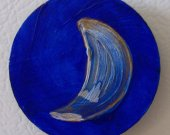Blue and Gold Fridge Magnet / Hand Painted Acrylic on Wood / Crescent Moon on Disc / Pretty Magnet / Kitchen Decor OOAK