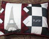 Eiffel Tower, Paris, Quilted Pillow, Monogrammed Pillow, Decorative Pillow, Pillow Cover