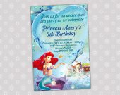 Ariel Little Mermaid - Disney Princess Birthday Party Invitation - DIGITAL FILE - card 6