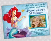 Ariel Little Mermaid - Disney Princess Birthday Party Invitation - DIGITAL FILE - card 7