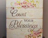 Count your blessings rustic wooden sign