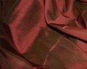 Prismatic Dupioni silk fabric- Red and Emerald Green with beautiful sheen and reflection-1 yard