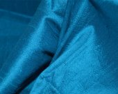 "Indian Silk Fabric - Pure Silk Dupioni in Teal Blue, 100% dupioni silk fabric yardage By the Yard 45"" wide"