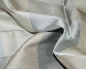 Silver and Grey Plaids Poly Silk Blended Fabric, Semi Dupioni