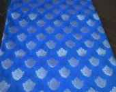 Blue and Silver Jari Flowers Woven Pattern on Banarasi Brocade Fabric