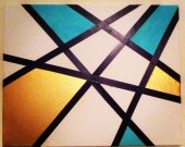 Abstract Gold, Turquoise, and Black Canvas Painting